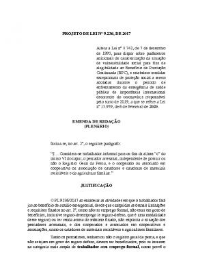 EMENDAS PL 9236 – Pescador, cooperados e agricultura familiar